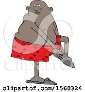 Cartoon Black Man Putting His Slippers On