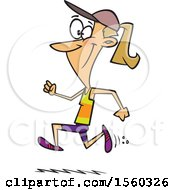 Cartoon Fit White Woman Running