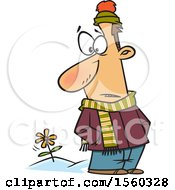 Cartoon White Man In Winter Clothes Seeing A Spring Flower