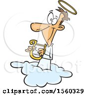 Clipart Of A Cartoon White Male Angel Holding A Lyre On A Cloud Royalty Free Vector Illustration