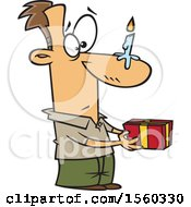 Clipart Of A Cartoon White Man Holding A Gift With A Birthday Candle On His Nose Royalty Free Vector Illustration