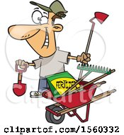 Clipart Of A Cartoon White Man With His Garden Tools And Fertilizer Royalty Free Vector Illustration