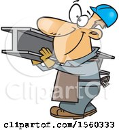 Clipart Of A Cartoon White Male Steel Worker Carrying A Beam Royalty Free Vector Illustration