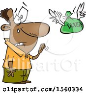 Clipart Of A Cartoon Black Man Shedding A Tear As He Sends His Taxes Off Royalty Free Vector Illustration