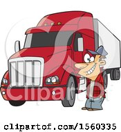Clipart Of A Cartoon Happy White Male Trucker By His Big Rig Royalty Free Vector Illustration