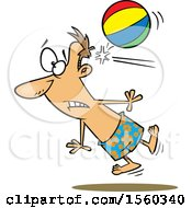 Clipart Of A Cartoon White Man Being Knocked Out By A Beach Ball Royalty Free Vector Illustration