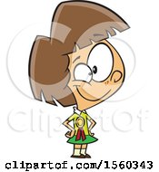 Clipart Of A Cartoon Proud White Female Student Wearing A Ribbon Royalty Free Vector Illustration