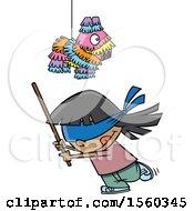 Cartoon Girl Swinging A Stick Under A Pinata