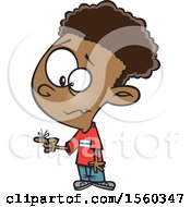 Clipart Of A Cartoon Black Boy With A Reminder String On His Finger Royalty Free Vector Illustration