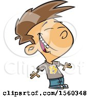 Clipart Of A Cartoon White Boy Laughing Royalty Free Vector Illustration