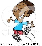 Poster, Art Print Of Cartoon Black Boy Bouncing On Springs