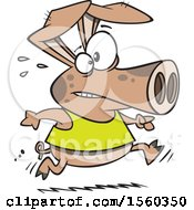 Clipart Of A Cartoon Fit Pig Running Royalty Free Vector Illustration