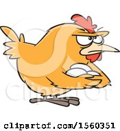 Poster, Art Print Of Cartoon Brooding Hen Holding Her Eggs