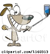 Clipart Of A Cartoon Dog Taking A Selfie With A Stick Royalty Free Vector Illustration by toonaday