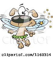Clipart Of A Cartoon Fairy Dog Holding A Wand Royalty Free Vector Illustration by toonaday