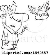Clipart Of A Cartoon Lineart Man Shedding A Tear As He Sends His Taxes Off Royalty Free Vector Illustration