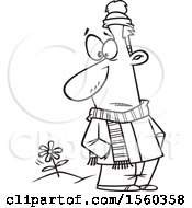 Clipart Of A Cartoon Lineart Man In Winter Clothes Seeing A Spring Flower Royalty Free Vector Illustration