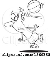 Clipart Of A Cartoon Lineart Man Being Knocked Out By A Beach Ball Royalty Free Vector Illustration
