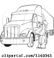 Clipart Of A Cartoon Lineart Happy Male Trucker By His Big Rig Royalty Free Vector Illustration