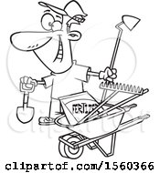 Clipart Of A Cartoon Lineart Man With His Garden Tools And Fertilizer Royalty Free Vector Illustration
