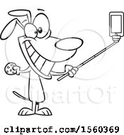 Cartoon Outline Dog Taking A Selfie With A Stick