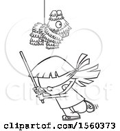 Cartoon Outline Girl Swinging A Stick Under A Pinata