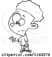 Clipart Of A Cartoon Lineart Boy With A Reminder String On His Finger Royalty Free Vector Illustration