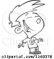 Clipart Of A Cartoon Lineart Boy Laughing Royalty Free Vector Illustration