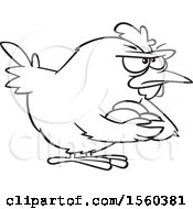 Clipart Of A Cartoon Lineart Brooding Hen Holding Her Eggs Royalty Free Vector Illustration