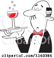 Clipart Of A Black And White Man Serving A Glass Of Red Wine With A Red Bow Royalty Free Vector Illustration
