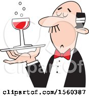 Clipart Of A White Man Serving A Glass Of Red Wine Royalty Free Vector Illustration