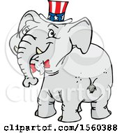 Clipart Of A Political Republican Elephant Looking Back Royalty Free Vector Illustration by Dennis Holmes Designs