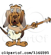 Clipart Of A Bloodhound Mascot Playing A Banjo Royalty Free Vector Illustration