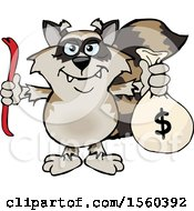 Raccoon Mascot Robber Holding A Crow Bar And Money Bag