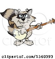 Clipart Of A Raccoon Mascot Playing A Banjo Royalty Free Vector Illustration by Dennis Holmes Designs