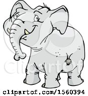 Clipart Of A Happy Elephant Looking Back Royalty Free Vector Illustration by Dennis Holmes Designs