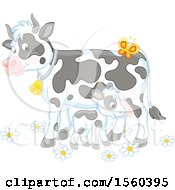 Clipart Of A Baby Calf And Cow Royalty Free Vector Illustration