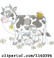 Clipart Of A Baby Calf And Mamma Cow Royalty Free Vector Illustration