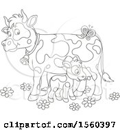 Clipart Of A Lineart Baby Calf And Mamma Cow Royalty Free Vector Illustration