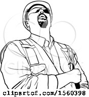 Clipart Of A Black And White Construction Worker Looking Up Royalty Free Vector Illustration