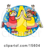 Two Happy Girls Dancing Together Under A Spotlight Clipart Illustration
