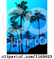 Clipart Of A Background Of Silhouetted Palm Trees Against A Blue Dawn Or Dusk Sky Royalty Free Vector Illustration