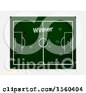 Football Soccer Chalkboard With Coach Drawing Strategy On A Shaded Background