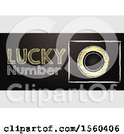 Clipart Of A Hand Drawing Style Lucky Number Text And Bingo Lottery Ball With Blank Centre As Copy Space Over Black Panel On A Shaded Background Royalty Free Vector Illustration
