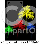 Blank Wine Menu With Glasses And Colorful Palm Trees On Black