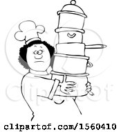 Lineart Black Chef Woman In A White Hat And Uniform Carrying A Large Stack Of Pots