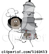Happy Black Chef Woman In A White Hat And Uniform Carrying A Large Stack Of Pots