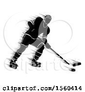 Motion Blur Styled Silhouetted Hockey Player In Action