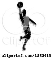Clipart Of A Motion Blur Styled Silhouetted Basketball Player In Action Royalty Free Vector Illustration