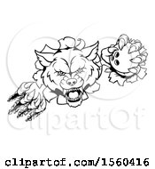 Clipart Of A Black And White Ferocious Wolf Slashing Through A Wall With A Bowling Ball Royalty Free Vector Illustration
